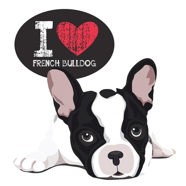 J'aime le bouledogue français Vecteur Premium