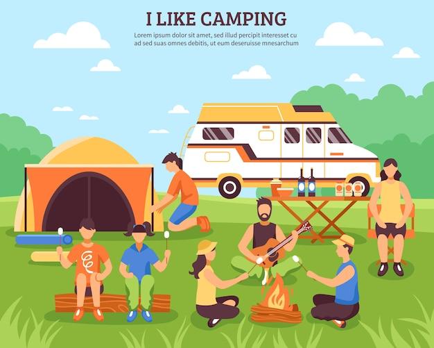 J'aime La Composition Du Camping Vecteur gratuit