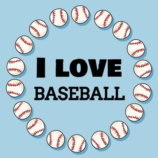 J'aime La Conception De Bannière De Sport De Baseball à La Guirlande De Balles De Baseball. Dornament Et Typographie De Baseball Vecteur Premium