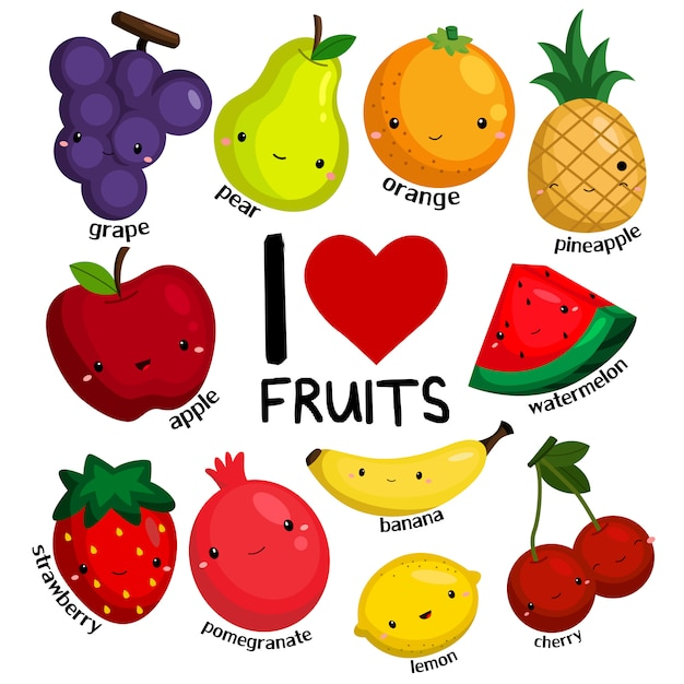 J'aime les fruits Vecteur Premium