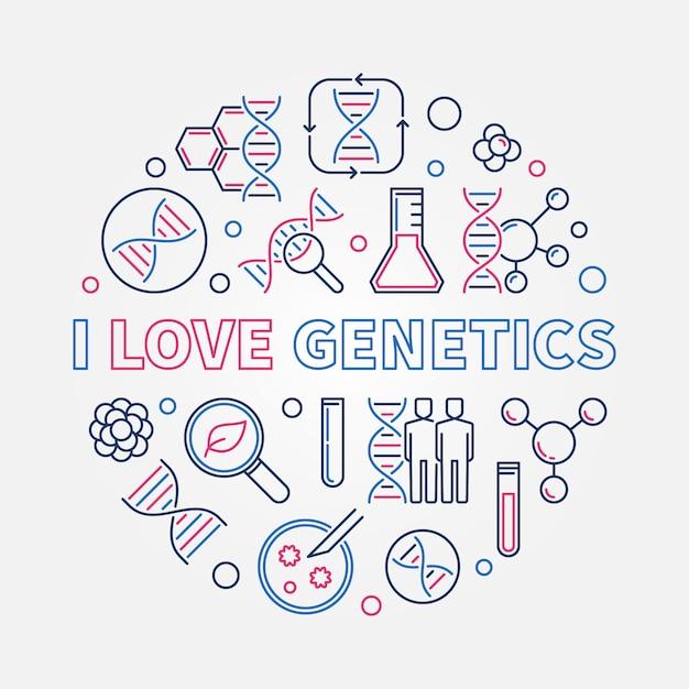 J'aime La Génétique Contour Créatif Illustration Ronde Vecteur Premium