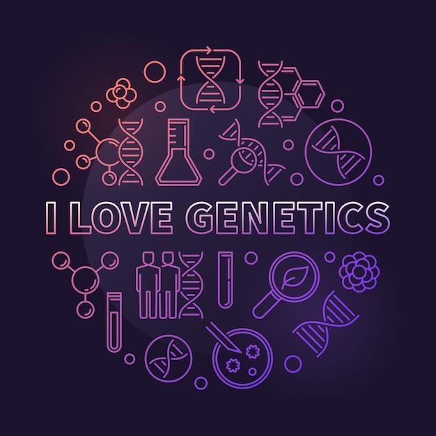 J'aime la génétique vecteur couleur concept mince ligne ronde illustration sur fond sombre Vecteur Premium