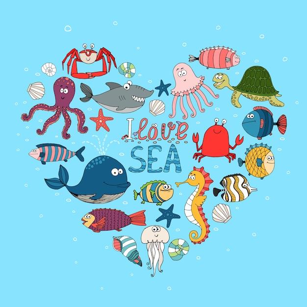 J'aime L'illustration Nautique De La Mer Vecteur gratuit
