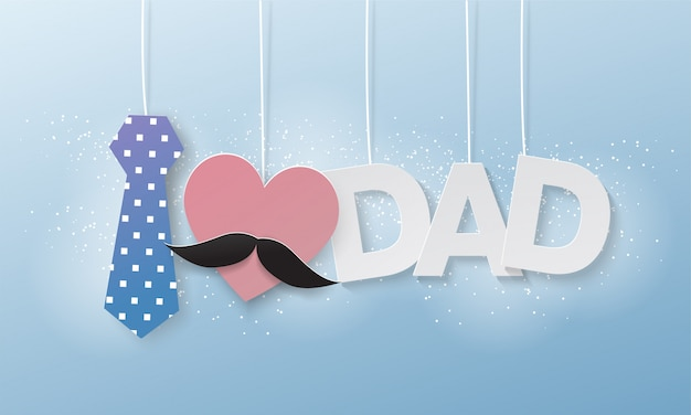 J'aime papa, texte volant de papier découpé, fête des pères Vecteur Premium