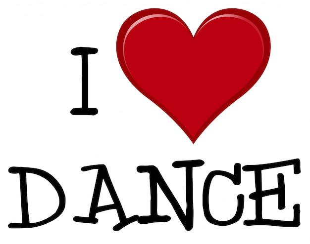 J'aime la police de danse Vecteur gratuit