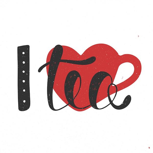 J'aime le thé au coeur noir et rouge Vecteur Premium