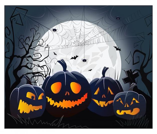 Jack O Lanternes Et Toile D'araignée Avec Des Araignées Contre Le Clair De Lune Vecteur gratuit