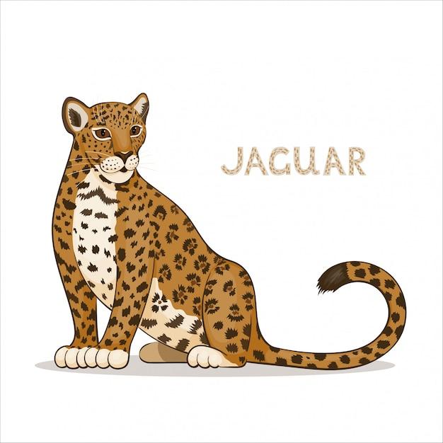 Un jaguar de dessin animé Vecteur Premium