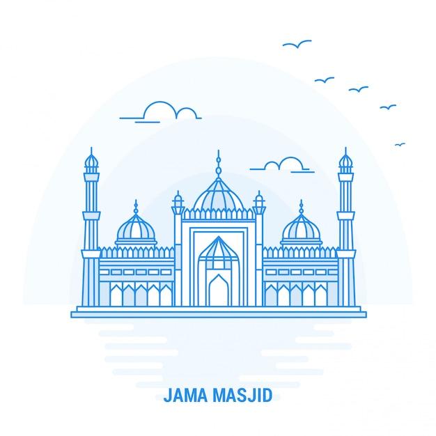 Jama masjid blue landmark Vecteur Premium
