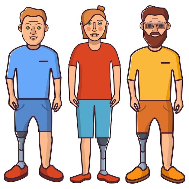 Jambe Artificielle, Jeune, Fille Et Membre. Vecteur Premium