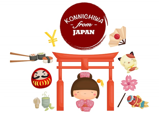 Japan tradition image set Vecteur Premium