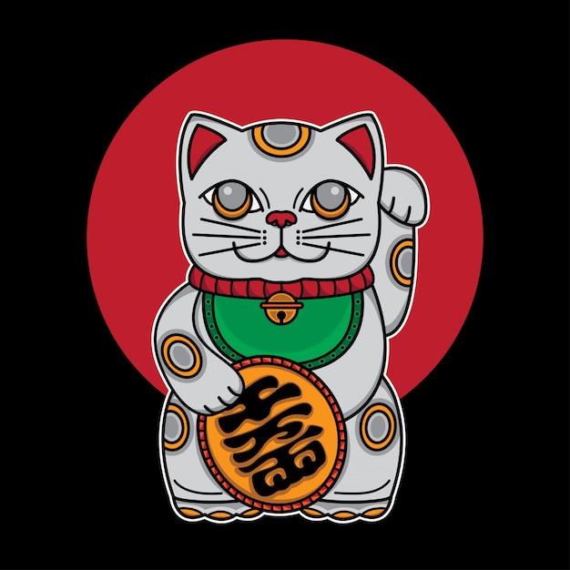 Japon chat porte-bonheur maneki neko Vecteur Premium