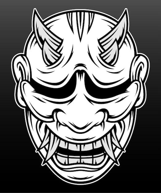 Japon Hannya Masque Dessiné à La Main Illustration Design Vecteur Premium