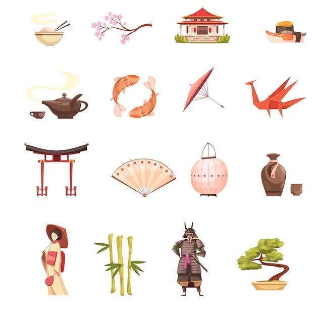 Japon icônes de dessin animé rétro sertie de sanctuaire sakura geisha samurai origami bonsaï et bambou Vecteur gratuit