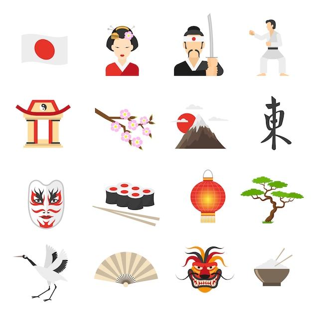 Japon icons set Vecteur gratuit