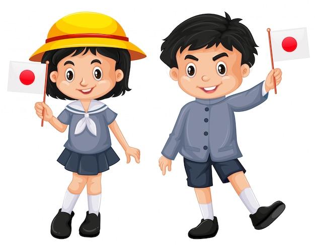 Japonais fille et garçon tenant le drapeau Vecteur gratuit
