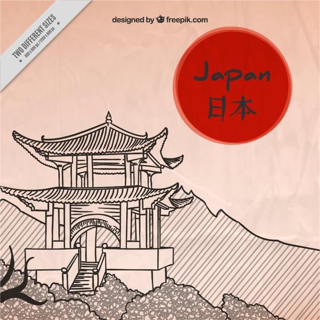 Japonaise Pagode Fond Vecteur gratuit