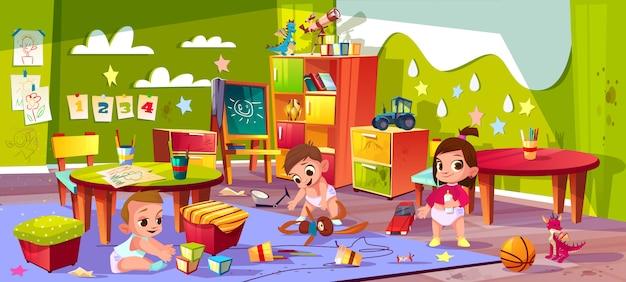 Jardin d'enfants de dessin animé Vecteur gratuit