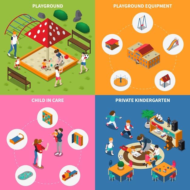 Jardin D'enfants Isométrique Vecteur gratuit