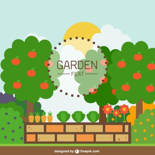 Jardin avec un mur de briques en design plat Vecteur gratuit