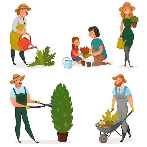 Jardinage hobby icon set Vecteur gratuit