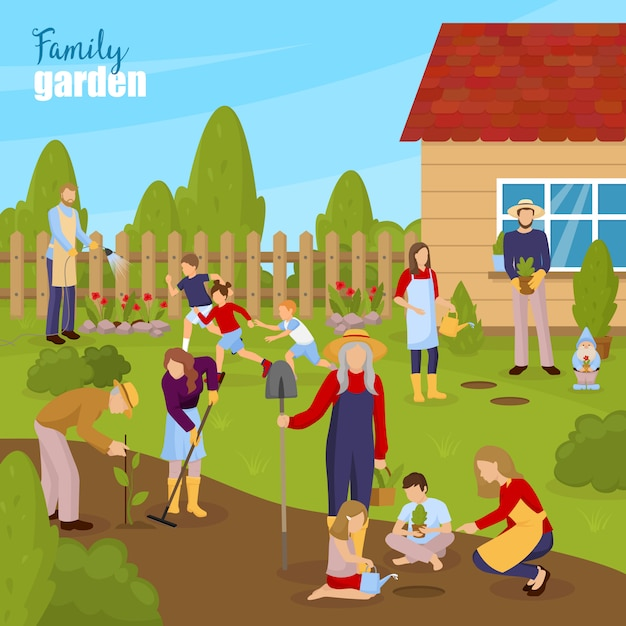 Jardinage et illustration de la famille Vecteur gratuit