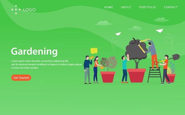 Jardinage, modèle de site web, en couches, facile à modifier et à personnaliser, concept d'illustration Vecteur Premium
