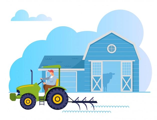 Jardinier, ouvrier agricole, caractère, conduite, tracteur Vecteur Premium