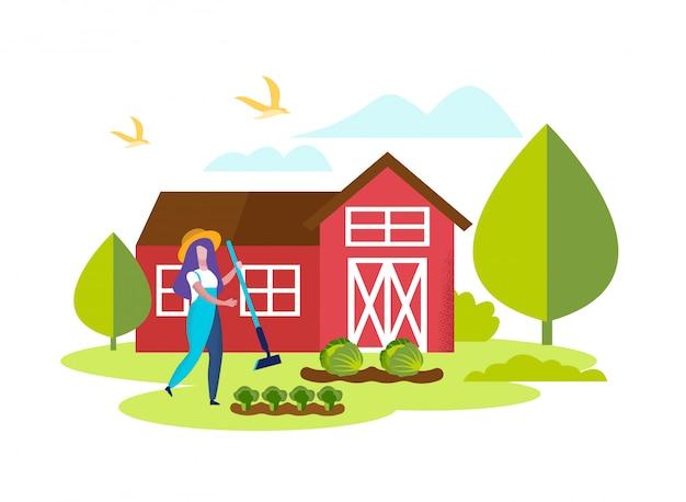 Jardinière de femme jardinier désherber lit avec brocoli Vecteur Premium