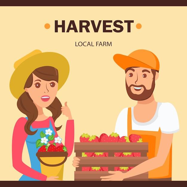 Jardiniers tenant l'illustration de la récolte de baies Vecteur Premium