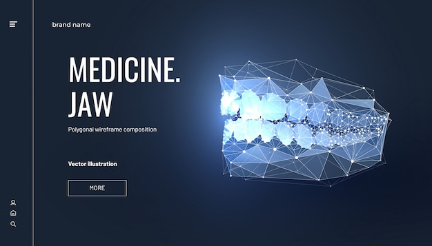 Jaw low poly wireframe Vecteur Premium