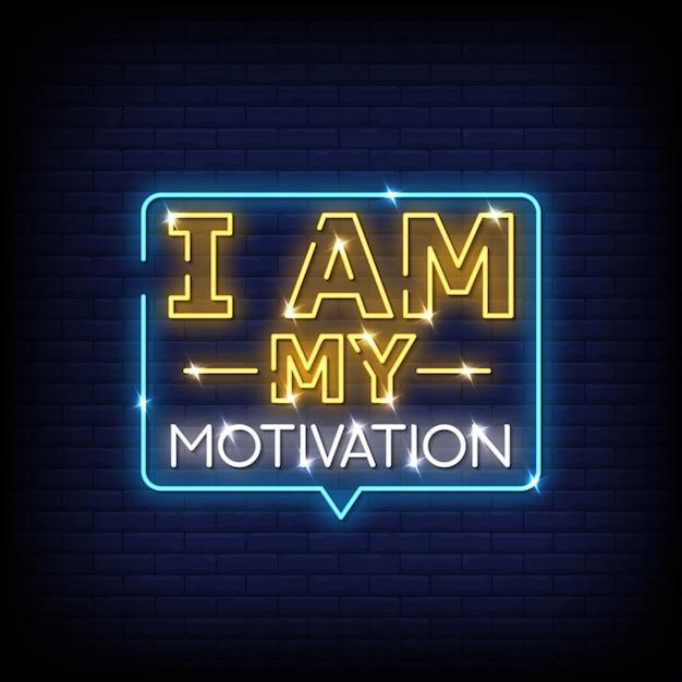 Je suis motivation néon style texte vecteur Vecteur Premium