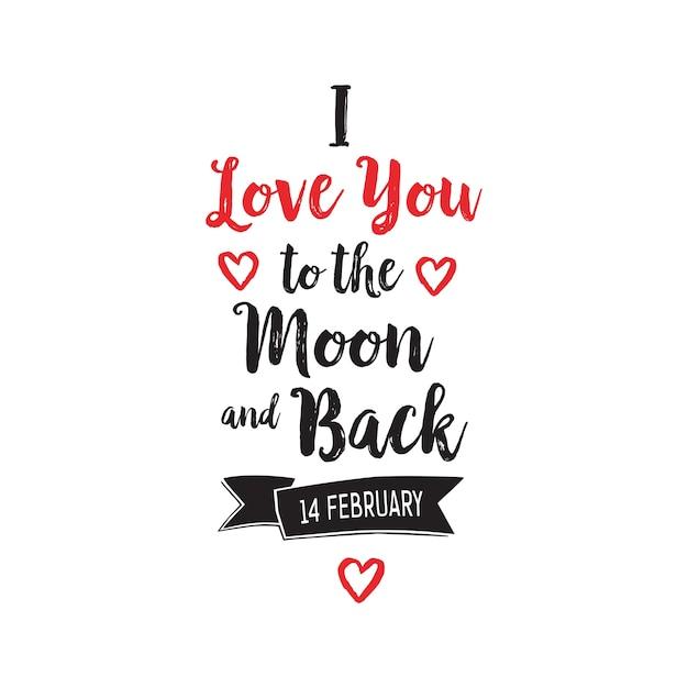Je t'aime au lettrage de la lune et du dos Vecteur gratuit