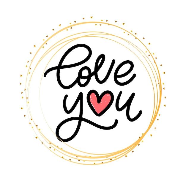 Je T'aime. Calligraphie De Voeux Saint Valentin. éléments De Conception Dessinés à La Main. Lettrage De Brosse Moderne Manuscrite. Vecteur Premium