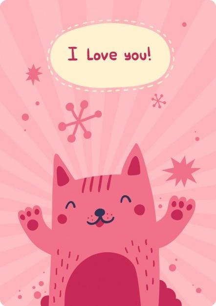 Je t'aime carte avec bonheur chat Vecteur gratuit