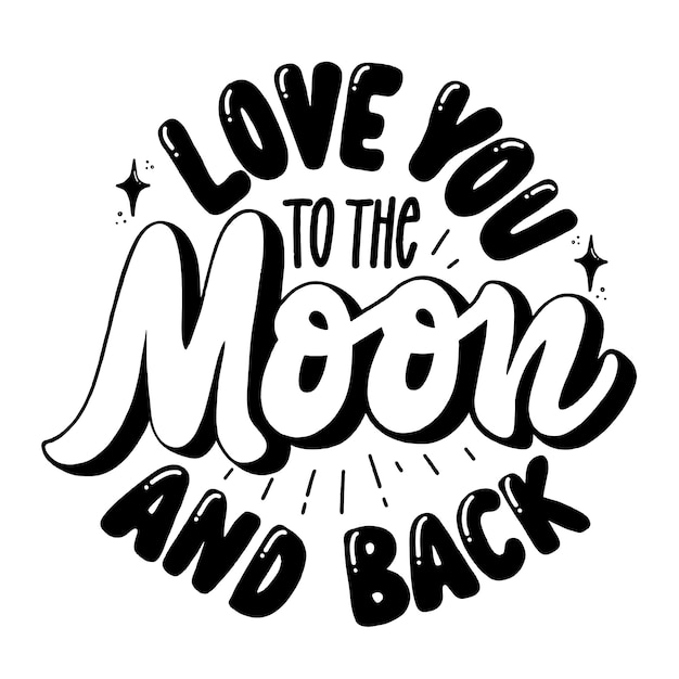 Je t'aime jusqu'à la lune et le retour Vecteur Premium