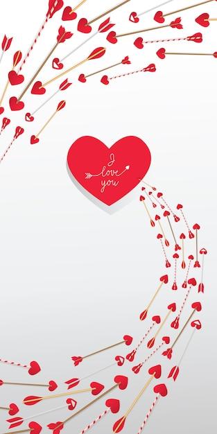 Je t'aime lettrage dans le coeur rouge et les flèches dans le tourbillon Vecteur gratuit