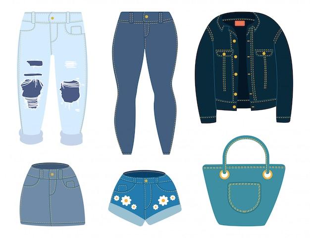 Jeans, Veste, Short, Jupe Et Sac. Ensemble De Vêtements En Denim Dessin Animé Isolé Sur Fond Blanc. Vecteur Premium