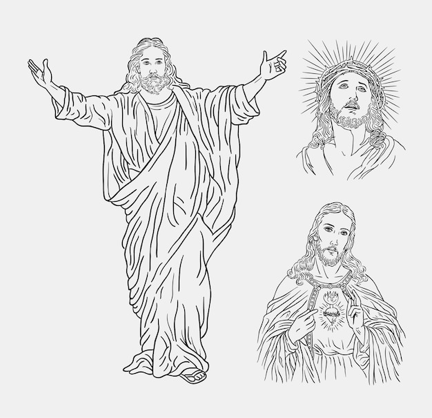 Jesus Christ Religion Catholique Line Art Dessin A La Main