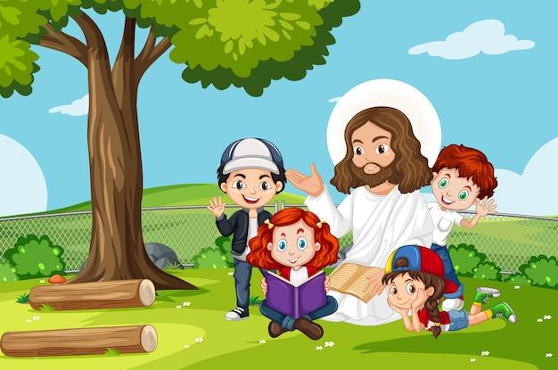 Jésus Avec Des Enfants Dans Le Parc Vecteur Premium