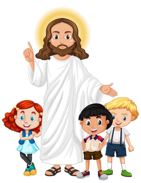Jésus Avec Un Personnage De Dessin Animé De Groupe D'enfants Vecteur gratuit