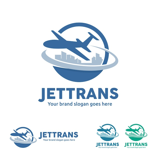 Jet aircraft with globe et city skyline symbol for travel agency, tour company, air ticket agency, air transport business. Vecteur Premium