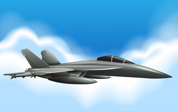 Jet militaire en vol dans le ciel Vecteur Premium