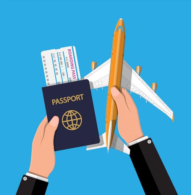 Jet De Passagers, Carte D'embarquement Et Passeport En Main. Vecteur Premium