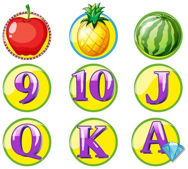 Jeton de jeu avec fruits et chiffres Vecteur gratuit