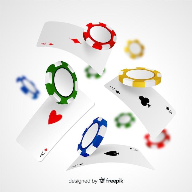 Jetons et cartes de casino Vecteur gratuit