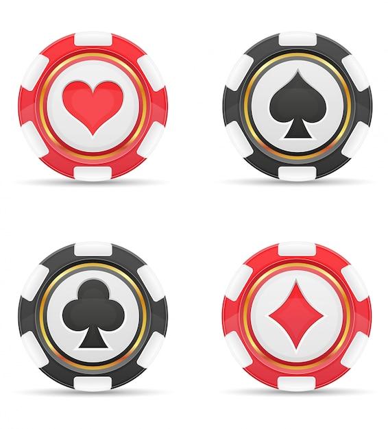 Jetons de casino avec des cartes convient à illustration vectorielle Vecteur Premium