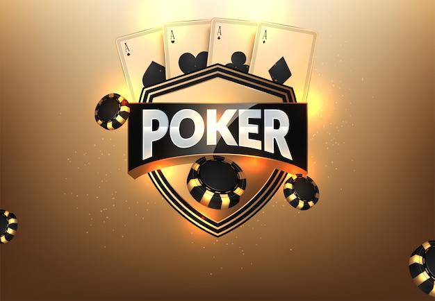 Jetons de casino, cartes et place pour le texte Vecteur Premium