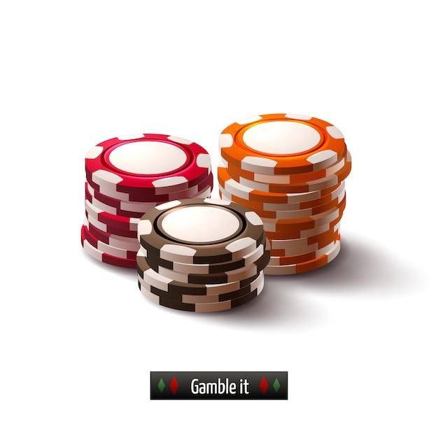 Jetons de casino isolés Vecteur gratuit