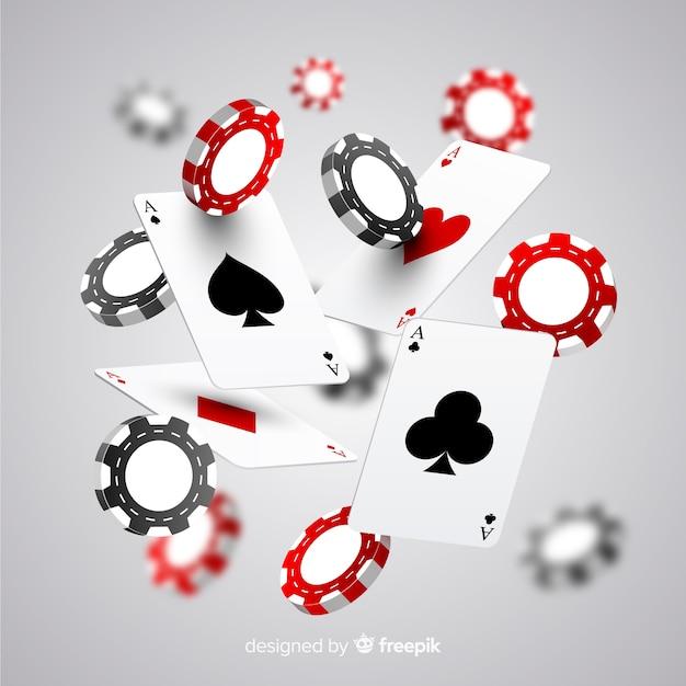 Jetons De Casino Réalistes Et Cartes En Baisse Vecteur gratuit